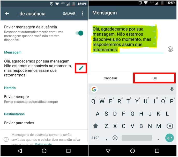 whatsapp para empresas mensagem de ausencia