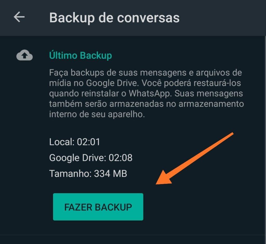 imagem como restaurar backup whatsapp google drive